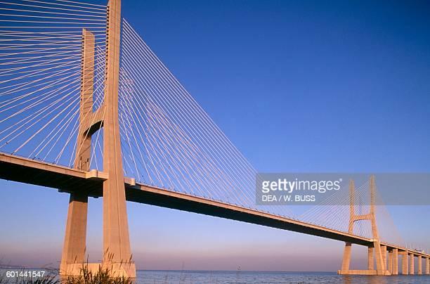 Vasco da Gama Bridge over the Tagus river connecting Montijo and Sacavem Lisbon Portugal 20th century