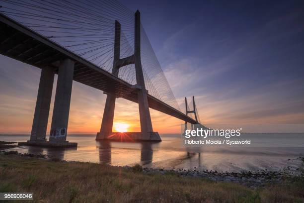 vasco da gama bridge, portugal - suspension bridge stock pictures, royalty-free photos & images