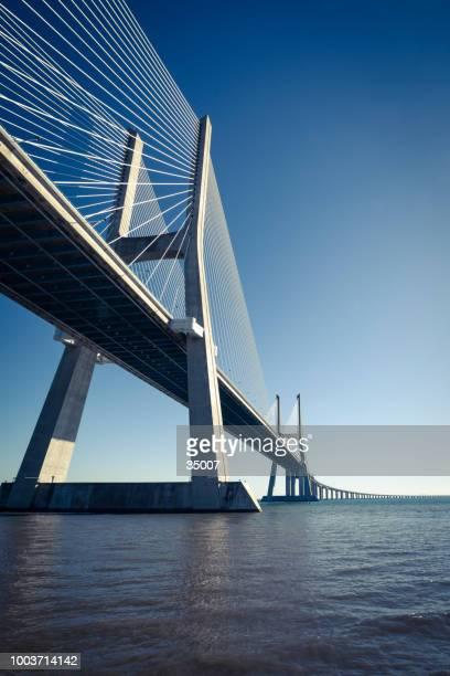 vasco da gama cable bridge in lisbon, portugal