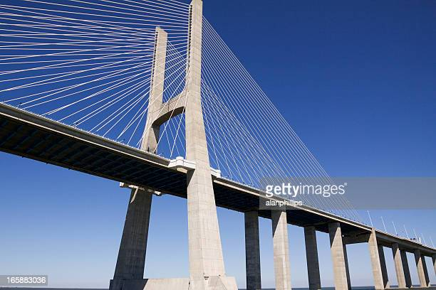 vasco da gama contemporary cable-stayed bridge - stability stock pictures, royalty-free photos & images