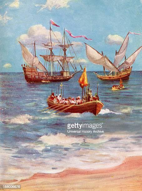 Vasco Da Gama Landing Near Calicut India In 1498 Vasco Da Gama 1St Count Of Vidigueira C1460 Or 1469 To 1524 Portuguese Explorer From The Great...