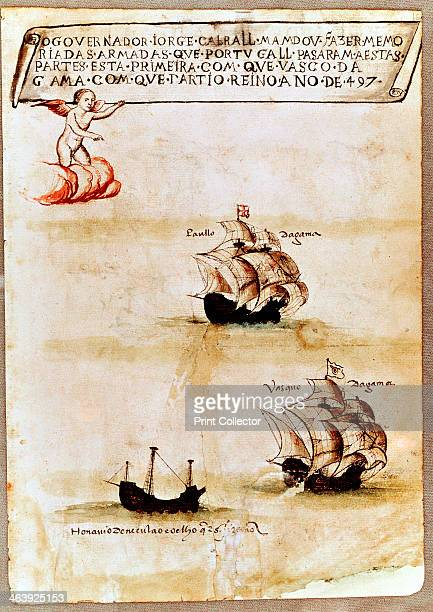 Vasco da Gama's fleet at sea 1497 In 1497 Vasco da Gama Portuguese navigator became the first westerner to round the Cape of Good Hope the tip of...
