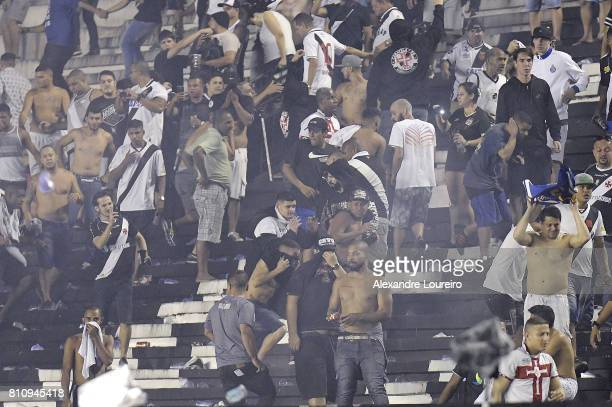 Vasco fans get angry arter defeat in the game and come into confrontation with the police after the match between Vasco da Gama and Flamengo as part...
