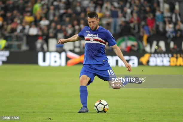 Vasco Regini in action during the Serie A football match between Juventus FC and US Sampdoria at Allianz Stadium on 15 April 2018 in Turin Italy...