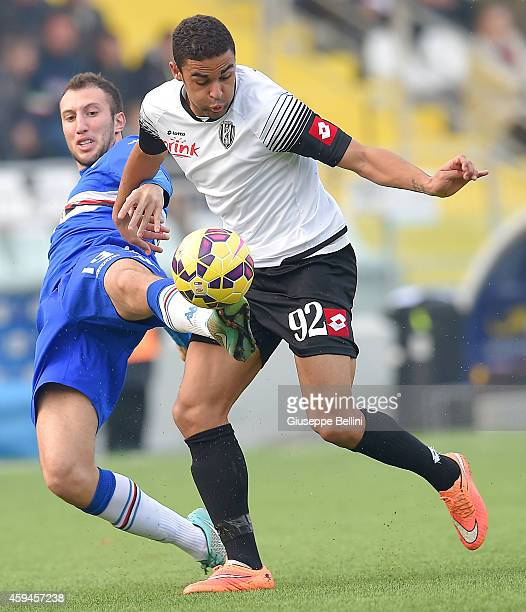 Vasco Regini of Sampdoria and Gregoire Defrel of Cesena in action during the Serie A match between AC Cesena and UC Sampdoria at Dino Manuzzi Stadium...