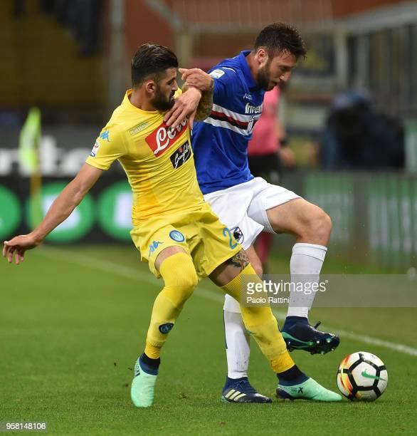 Vasco Regini of Sampdoria opposed to Elseid Hysaj of Napoli during the serie A match between UC Sampdoria and SSC Napoli at Stadio Luigi Ferraris on...