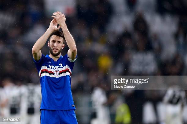 Vasco Regini of UC Sampdoria greets the supporters at the end of the Serie A football match between Juventus FC and UC Sampdoria Juventus FC won 30...