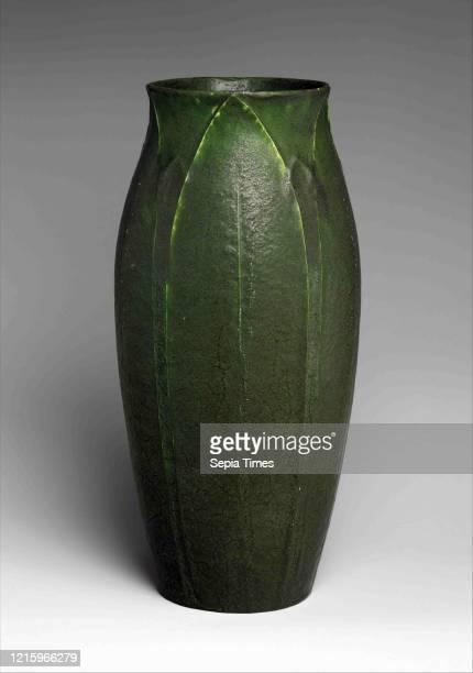 Vase, ca. 1900-1910, Made in Revere, Massachusetts, United States, American, Earthenware, H. 11 1/4 in. ; Diam. 13 15/16 in. , Ceramics, Grueby...