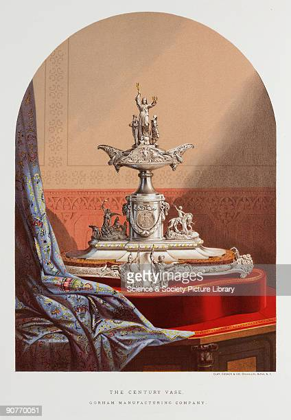 Vase commemorating a century of Amrerican history made by the Gorham Manufacturing Company Illustration from �Treasures of art industry and...