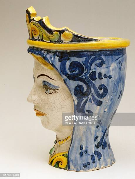 Vase in the shape of a woman's head with a blue fringed crown and pearl necklace ceramic 25 cm Vincenzo Ripullo manufacture Caltagirone Sicily Italy...