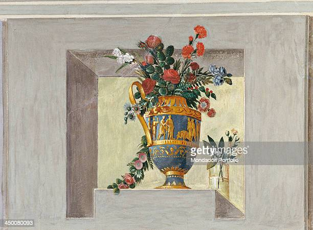Vase of flowers by Paolo Caliari 19th Century fresco