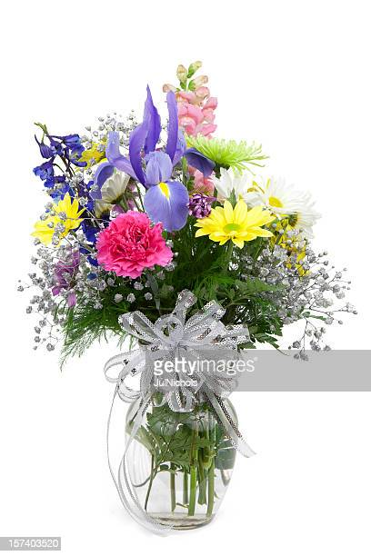 vase of flowers - carnation flower stock photos and pictures