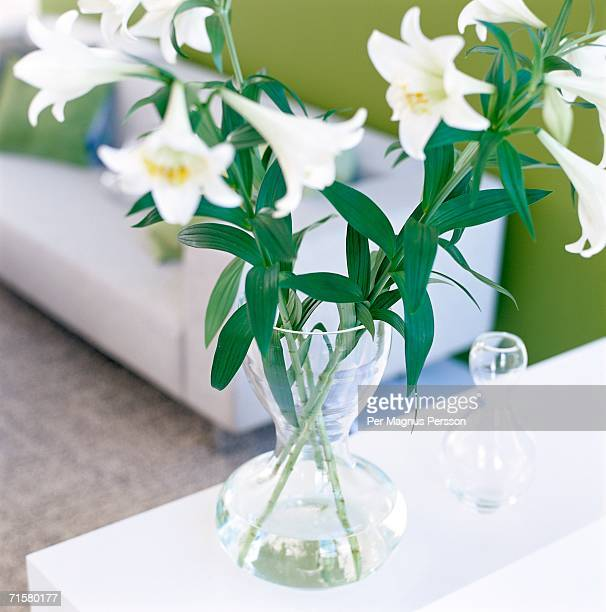 A vase of lilies.