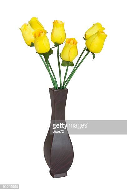 vase of yellow roses isolated on white - yellow roses stock photos and pictures