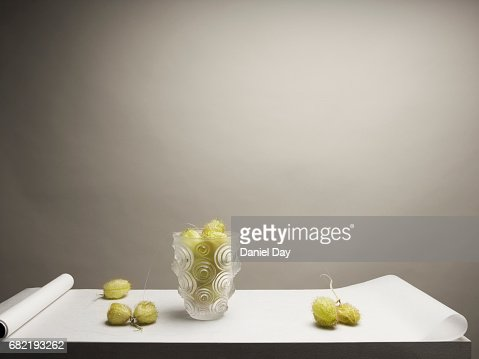 Vase standing on a white plinth covered by wax paper with green flower pods lying around it
