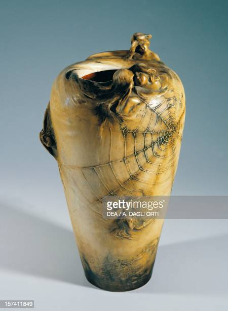 Vase with allegory of the night 19001902 carved maiolica Amphora manufacture TurnTeplitz Czech Republic 20th century