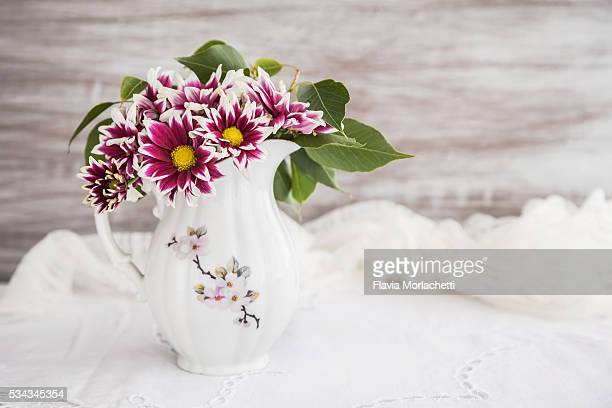 Vase with flowers, home decoration.