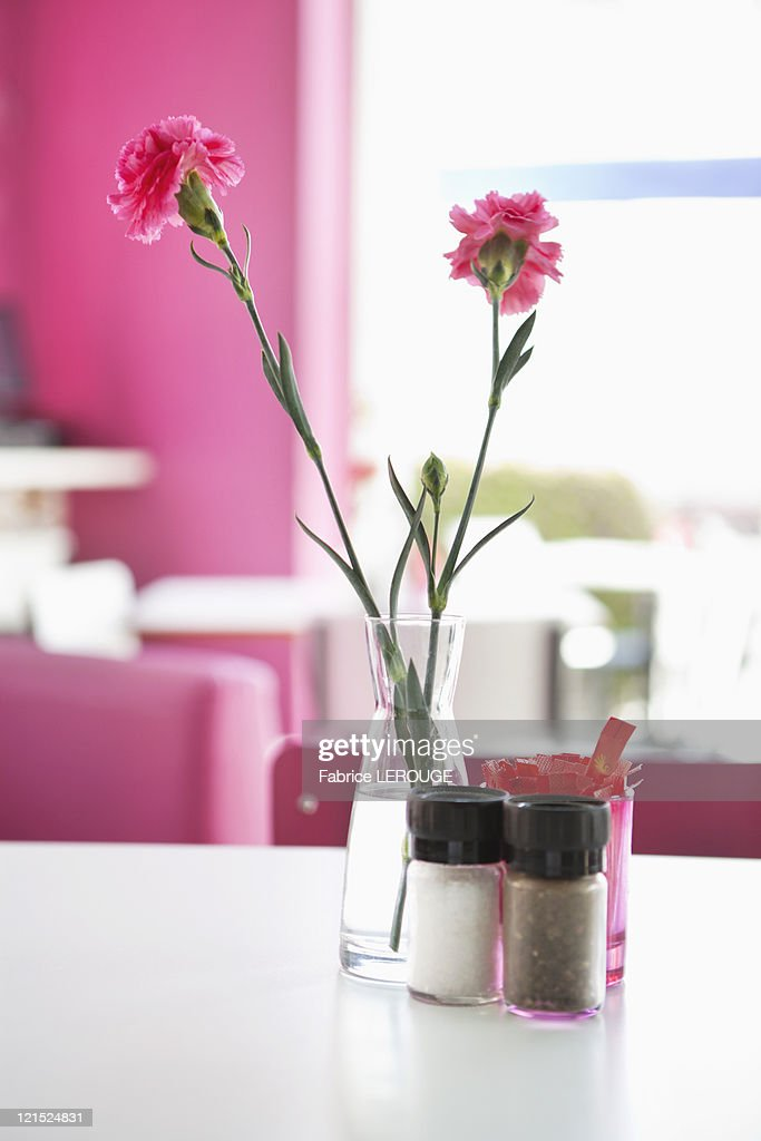 Vase With Pink Flowers And Salt And Pepper Shakers On A Table In A