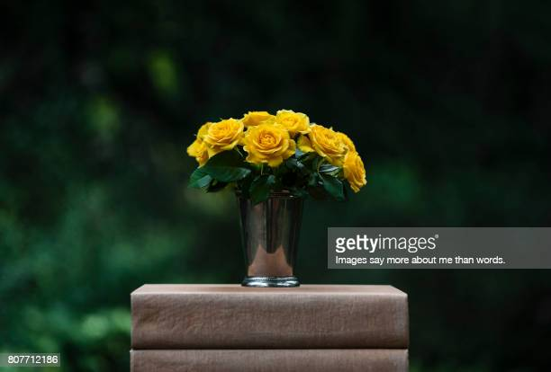 vase with yellow roses on old books. - yellow roses stock photos and pictures