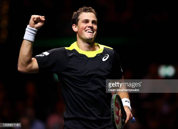 Vasek Pospisil of Canada celebrates his victory against Daniil Medvedev of Russia during Day 5 of the ABN AMRO World Tennis Tournament at Rotterdam...