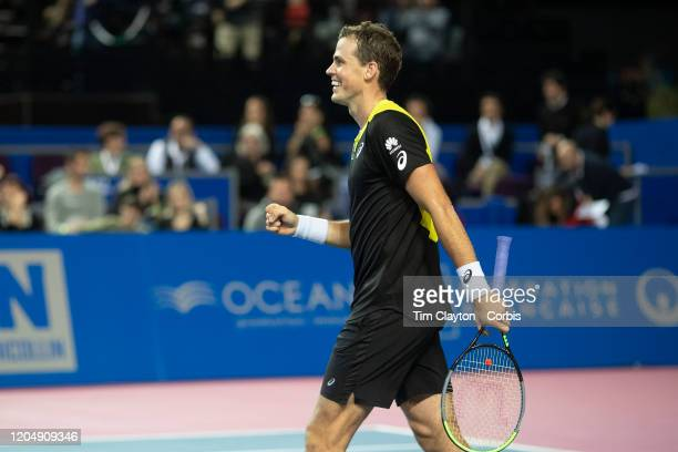 Vasek Pospisil of Canada celebrates his victory against David Goffin of Belgium in the Semi Finals of the Open Sud de France Tennis Tournament at the...