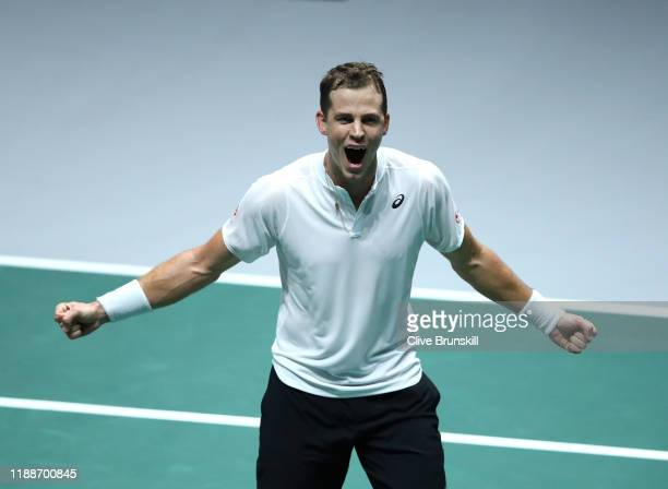 Vasek Pospisil of Canada celebrates victory against Reilly Opelka of The United States during Day 2 of the 2019 Davis Cup at La Caja Magica on...