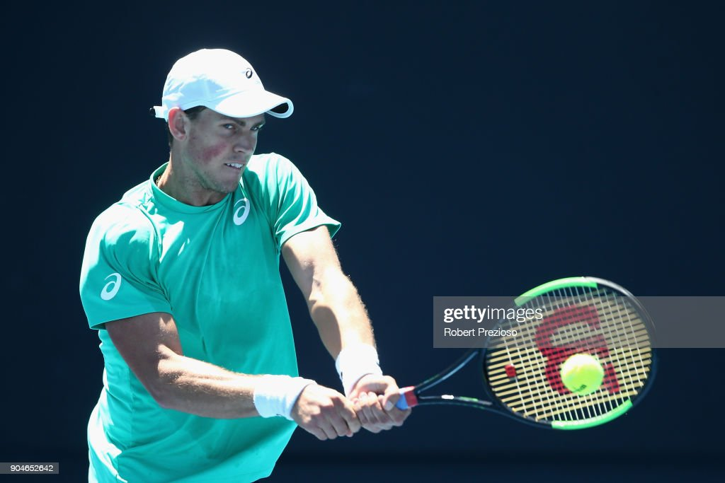 Vasek Pospisil of Canada competes in his third round match against Ramkumar Ramanathan of India during 2018 Australian Open Qualifying at Melbourne Park on January 14, 2018 in Melbourne, Australia.