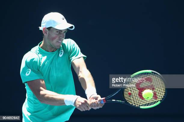 Vasek Pospisil of Canada competes in his third round match against Ramkumar Ramanathan of India during 2018 Australian Open Qualifying at Melbourne...