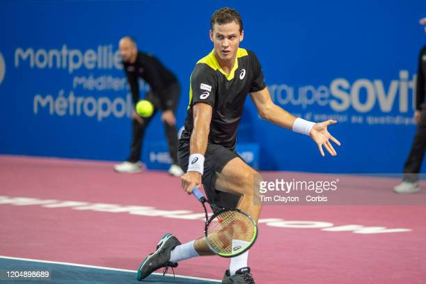 Vasek Pospisil of Canada in action against David Goffin of Belgium in the Semi Finals of the Open Sud de France Tennis Tournament at the Sud de...