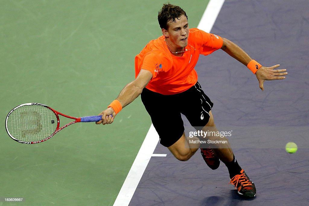 Vasek Pospisil of Canada lunges for a shot while playing Richard Gasquet of France during the Shanghai Rolex Masters at the Qi Zhong Tennis Center on October 8, 2013 in Shanghai, China.