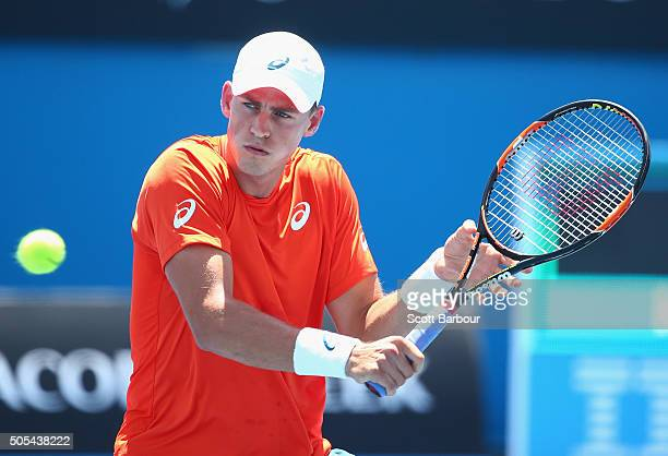 Vasek Pospisil of Canada plays a forehand in his first round match against Simon Gilles of France during day one of the 2016 Australian Open at...