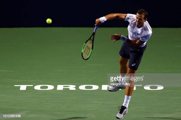 Vasek Pospisil of Canada serves against Borna Coric of Croatia during a 1st round match on Day 1 of the Rogers Cup at Aviva Centre on August 6 2018...