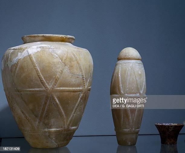 Vases alabaster Egyptian civilisation Archaic Period I Dynasty Paris Musée Du Louvre