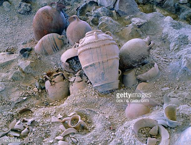 Vases unearthed at the archaeological site of Akrotiri on Thera now Santorini Greece Minoan civilization 16th Century BC