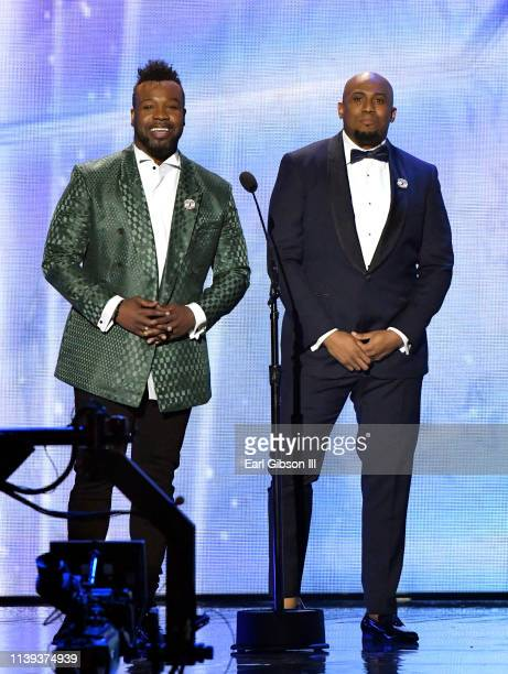 VaShawn Mitchell and Anthony Brown speak during the 34th annual Stellar Gospel Music Awards at the Orleans Arena on March 29 2019 in Las Vegas Nevada