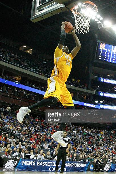 Vashil Fernandez of the Valparaiso Crusaders grabs a rebound during the second round of the 2015 NCAA Men's Basketball Tournament at Nationwide Arena...