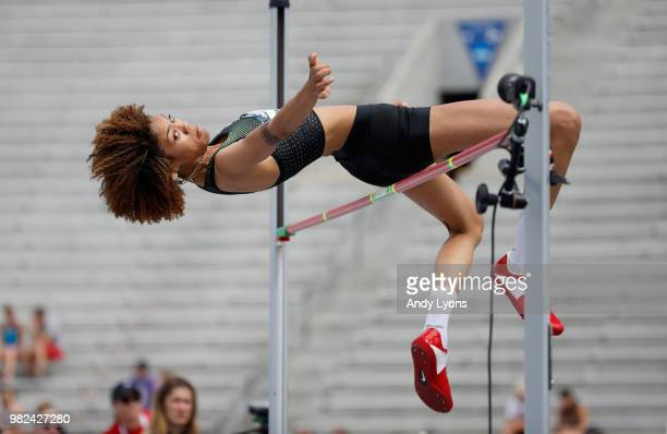 Vashti Cunningham clears the bar on her way to win the Womens High Jump Final during day 3 of the 2018 USATF Outdoor Championships at Drake Stadium...