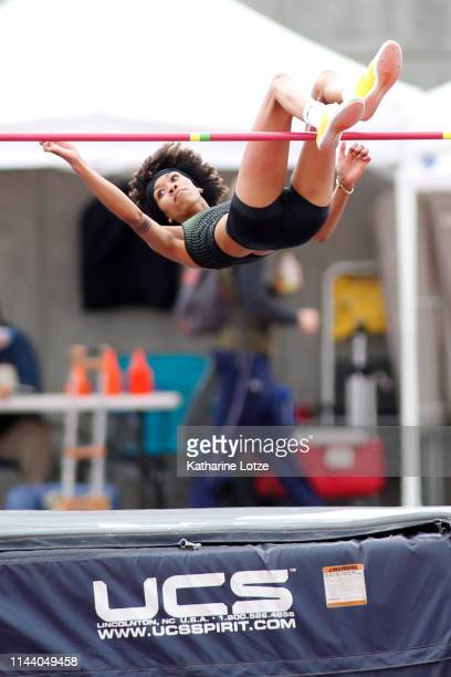 Vashti Cunningham of Nike clears 197 meters to win the women's high jump on the second day of the 61st Mt SAC Relays at Murdock Stadium at El Camino...