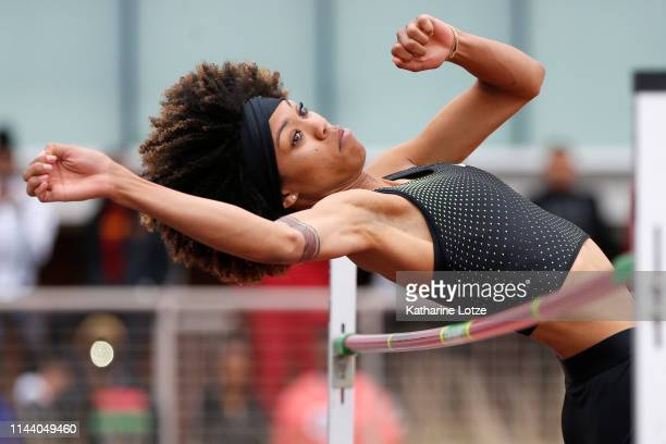 Vashti Cunningham of Nike competes in the women's high jump on the second day of the 61st Mt SAC Relays at Murdock Stadium at El Camino College on...