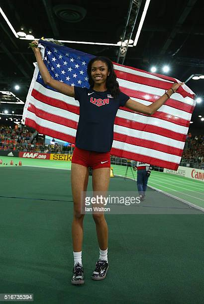 Vashti Cunningham of the United States wins gold in the Women's High Jump Finalduring day four of the IAAF World Indoor Championships at Oregon...