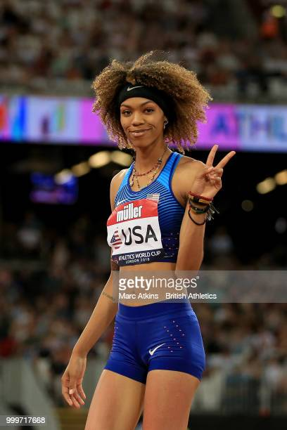 Vashti Cunningham of the USA celebrates victory in the Women's High Jump day two of the Athletics World Cup London at the London Stadium on July 15,...