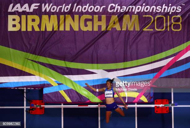 Vashti Cunningham of United States competes in the Womens High Jump Final on Day One of the IAAF World Indoor Championships at Arena Birmingham on...