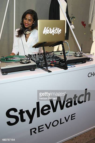 Vashtie spins at the StyleWatch x Revolve Fall Fashion Party on the The High Line on August 12 2015 in New York City