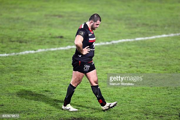 Vasil Kakovin of Toulouse looks dejected during the French Top 14 match between Toulouse and Pau at Stade Ernest Wallon on January 28 2017 in...