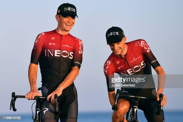 Vasil Kiryienka of Belarus and Team Ineos / Wout Poels of Netherlands and Team Ineos / during the 74th Tour of Spain 2019, Team Presentation /...