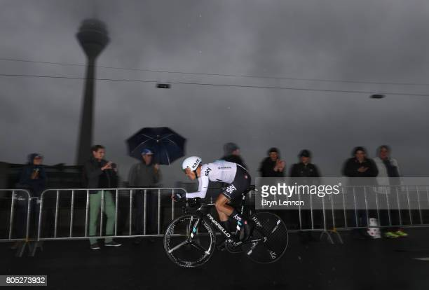 Vasil Kiryienka of Belarus and Team Sky competes during stage one of Le Tour de France 2017 a 14km individual time trial on July 1 2017 in...
