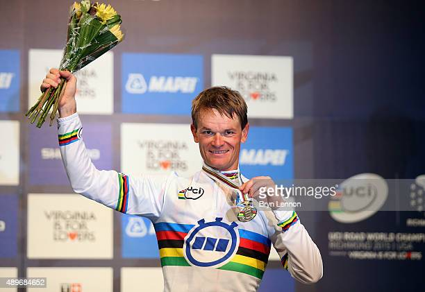 Vasil Kiryienka of Belarus celebrates winning the Elite Men Time Trial on day five of the UCI Road World Championships on September 23, 2015 in...
