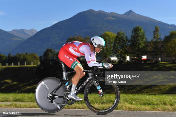 Vasil Kiryienka of Belarus / during the Men Elite Individual Time Trial a 52,5km race from Rattenberg to Innsbruck 582m at the 91st UCI Road World...