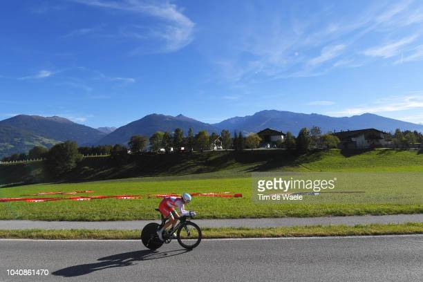 Vasil Kiryienka of Belarus / Landscape / Mountains / during the Men Elite Individual Time Trial a 52,5km race from Rattenberg to Innsbruck 582m at...