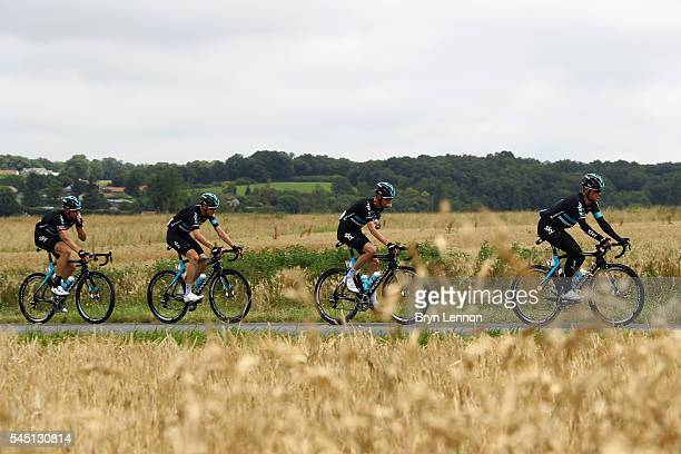 Vasil Kiryienka of Belarus leads Team SKY during stage four of the 2016 Tour de France, a 237.5km road stage from Saumur to Limoges, on July 5, 2016...